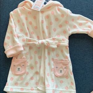 Comfy Just One You pink and white robe 0-9m